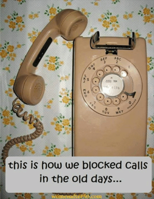 Memes, Old, and 🤖: DEF AB  6882 704  this is how we blocked calls  in the old days.  Womenafter50.com