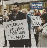 Asian, Memes, and Muslim: DEFEND  DACA  AMERICANit  MUSLIMS  STAND WITH  DREAMERS The revolution is intersectional ✊🏽✊🏻✊🏿✊🏾 Dreamers are black, Asian, Pacific Islander, and yes even Muslim! You can't spell hUmaNITY without UNITY 🔥❤ DreamAct NoDreamNoDeal . . Muslims Muslim dreamers immigration support unity solidarity cleandreamact