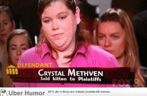 omg-pictures:  Honestly, I'm not surprised to see someone with a name like this in small claims court.http://omg-pictures.tumblr.com: DEFENDANT  CRYSTAL METHVEN  Sold kitten to Plaintiffs  FOX &  Über Humor 2013, still no flying cars. Instead, blankets with sleeves. omg-pictures:  Honestly, I'm not surprised to see someone with a name like this in small claims court.http://omg-pictures.tumblr.com