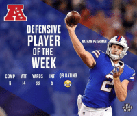 Football, Meme, and Nfl: DEFENSIVE  NATHAN PETERMAN  OF THE  WEEK  COMP ATT YARDS INT QB RATING  6 14 66 5  NFL  MEME  GUY Congrats, Nathan Peterman! https://t.co/Zb0VRMjYoo
