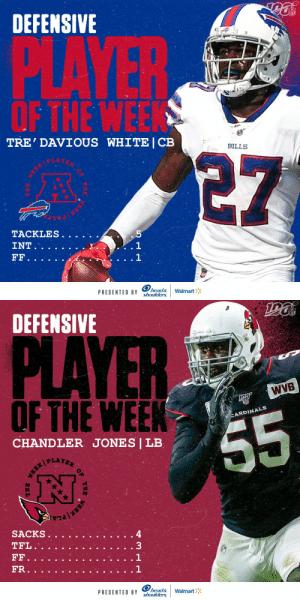 Defensive Players of the Week (Week 7):  AFC: @BuffaloBills CB @TreWhite16 NFC: @AZCardinals LB @chanjones55  (by @Headshoulders) https://t.co/BVbgD7LlfZ: DEFENSIVE  PLAYER  OF THE WEEK  TRE' DAVIOUS WHITE | CB  BILLS  5  TACKLES.  . 1  1  INT  FF.  head&  shoulders  Walmart  PRESENTED BY  MEEK   DEFENSIVE  PLAYER  WVB  OFTHE WEEK  CARDINALS  55  CHANDLER JONES | LB  PLAYER  SACKS  TFL.  33  FF  FR.  head&  shoulders  PRESENTED BY  Walmart  OF  THE  EBR/ Defensive Players of the Week (Week 7):  AFC: @BuffaloBills CB @TreWhite16 NFC: @AZCardinals LB @chanjones55  (by @Headshoulders) https://t.co/BVbgD7LlfZ