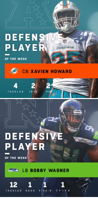 Memes, Dolphins, and Seahawks: DEFENSTV  PLAYE  NFI  Dolphins  OF THE WEEK  CB XAVIEN HOWAR D  4  TACKLES INTS  P D   DEFENSIVE  PLAYER  SEAHAw  OF THE WEEK  LB BOBBY WAGNER  12 1 11  TAC K LES S A C K PICK 6 FFFR Defensive Players of the Week (Week 13):  AFC: @MiamiDolphins CB @Iamxavienhoward  NFC: @Seahawks LB @Bwagz https://t.co/FCWiTkhw12