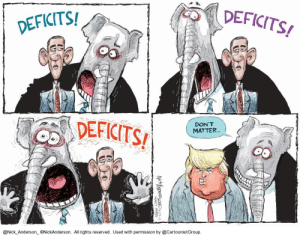Politics, Hawks, and Nick: DEFICITS  DEFICITS/  DON' T  MATTER  @Nick Anderson ONickAnderson. All rights reserved. Used with permission by @CartoonistGroup Deficit H̶a̶w̶k̶s̶ Hacks