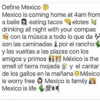 Y el señor del agua o el gas que te despierta a las 7 de la mañana .. o la perrita de la vecina que no deja dormir... ya extraño mi Tepatitlan, Jalisco ❤️ comenten de donde son 👇🏻👇🏻👇🏻: Define Mexico  Mexico is coming home at 4am from  a baile eating tacos elotes SS  drinking all night with your compas  con la música a todo lo que da  son las caminadas por el rancho  y las vueltas a las plazas con los  amigos y primos México is the  smell of tierra mojada y el cantar  de los gal os en la manana México  is worry free Mexico is family  Mexico is life Y el señor del agua o el gas que te despierta a las 7 de la mañana .. o la perrita de la vecina que no deja dormir... ya extraño mi Tepatitlan, Jalisco ❤️ comenten de donde son 👇🏻👇🏻👇🏻