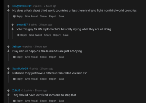 Definitely may not be as shit as other posts here, but these are the reactions of people on a meme about a volcanic eruption in the Philippines.: Definitely may not be as shit as other posts here, but these are the reactions of people on a meme about a volcanic eruption in the Philippines.