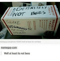 Dank, Definitely, and Dope: DEFINITELY  MOT BEES  SHAKE  GORous  BEFORE  EPENENG  nemeguy.com/photo/162801/well at least its not-bees  meme guy Com  Well at least its not bees Phew thank god for that clean memes cleanmemes funny funnymemes humour cleanhumour funnyhumour cleanbreadmemes bread yahhh ugh yay lol cool omg dope dank hashtag