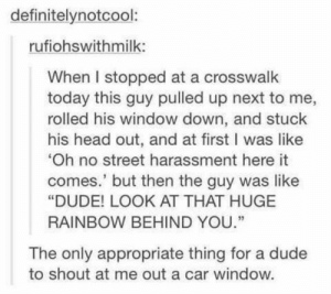 "Dude, Head, and Memes: definitelynotcool:  rufiohswithmilk:  When I stopped at a crosswalk  today this guy pulled up next to me,  rolled his window down, and stuck  his head out, and at first I was like  Oh no street harassment here it  comes.' but then the guy was like  ""DUDE! LOOK AT THAT HUGE  RAINBOW BEHIND YOU.""  35  The only appropriate thing for a dude  to shout at me out a car window. https://t.co/3jVmREiju4"