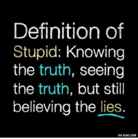 Definition of  Stupid: Knowing  the truth, seeing  the truth, but still  believing the lies.  VIA 9GAG.COM Definition of Stupid http://9gag.com/gag/aOqEjOD?ref=fbp