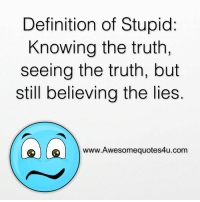 stupid: Definition of Stupid  Knowing the truth.  seeing the truth, but  still believing the lies  www.Awesomequotes4u.com