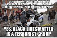 DEFINITION OFTERRORISM THEUSE OF  VIOLENCE AND THREATSTOINTIMIDATEOR  COERCE ESPECIALLY FOR ROLITICALRURPOSES.  YES, BLACK LIVES MATTER  ISATERRORISTGROUP  COM