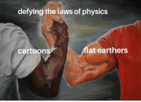 Cartoon, Physics, and MeIRL: defying the laws of physics  cartoon  flat earthers Meirl