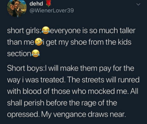 Girls, Streets, and Kids: dehd  @WienerLover39  short girls:everyone is so much taller  than mei get my shoe from the kids  section  Short boys:l will make them pay for the  way i was treated. The streets will runred  with blood of those who mocked me. All  shall perish before the rage of the  opressed. My vengance draws near. short girls vs short boys