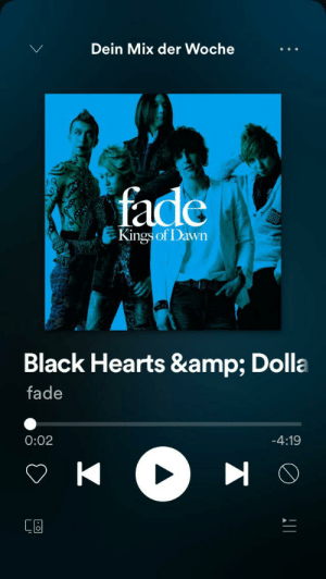 Spotify, Black, and Dawn: Dein Mix der Woche  fade  Kings of Dawn  Black Hearts & Dolla  fade  0:02  -4:19  AL It seems like Spotify doesn't like HTML's special entities