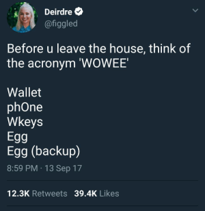 Phone, Acronym, and House: Deirdre &  @figgled  Before u leave the house, think of  the acronym 'WOWEE'  Wallet  phOne  Wkeys  Egg  Egg (backup)  8:59 PM 13 Sep 17  12.3K Retweets 39.4K Likes