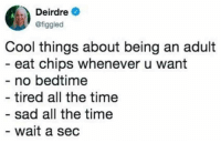 Being an Adult, Cool, and Time: Deirdre  @figgled  Cool things about being an adult  eat chips whenever u want  no bedtime  tired all the time  sad all the time  wait a sec