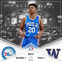 With the 1st pick in the 2017 NBAdraft, the Philadelphia 76ers select Markelle Fultz from the University of Washington. Expect to hear this in a few days. TrustTheProcess VNdraft17 VNdesign: DEL  PHI  20  NEXT  ROUND 1 LAL  PICK 1  BOS  SDR With the 1st pick in the 2017 NBAdraft, the Philadelphia 76ers select Markelle Fultz from the University of Washington. Expect to hear this in a few days. TrustTheProcess VNdraft17 VNdesign