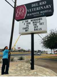 On her last day of work she was allowed to arrange the letter board one last time, and this was her message. Her bosses were ok with it and left it up. via /r/funny https://ift.tt/2rtktRO: DEL RIO  VETERINARY  DIAGNOSTIC HOSPITAL  ur,  delriovet.net f  2 THE WINDOWS  2 HE WALLS  TIL THE VET  SWIPS OFF  MY BALLS  Sutherlands On her last day of work she was allowed to arrange the letter board one last time, and this was her message. Her bosses were ok with it and left it up. via /r/funny https://ift.tt/2rtktRO