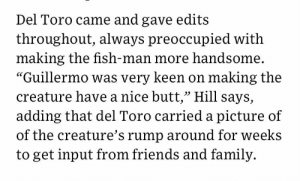 "Butt, Family, and Friends: Del Toro came and gave edits  throughout, always preoccupied with  making the fish-man more handsome  ""Guillermo was very keen on making the  creature have a nice butt,"" Hill says,  adding that del Toro carried a picture of  of the creature's rump around for weeks  to get input from friends and family. geodude:  genufa:  ninoxios: priorities Guillermo del Toro: so I need your opinion on a thing Hideo Kojima: my time has come   Where's the I'm gonna give gays everything they want"