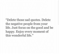 """Life, Focus, and Good: """"Delete those sad quotes. Delete  the negative people from your  life. Just focus on the good and be  happy. Enjoy every moment of  this wonderful life  53"""