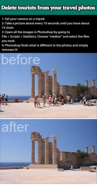 """Photoshop, Shit, and Tumblr: Delete touwrists from your travel photos  1: Set your camera on a tripod.  2: Take a picture about every 10 seconds until you have about  15 shots  3: Open all the images in Photoshop by going to  File > Scripts > Statistics. Choose """"median"""" and select the files  you took.  4: Photoshop finds what is different in the photos and simply  removes it!  before   after <p><a href=""""http://thyrell.tumblr.com/post/174161250086/postordiea-talesoftenko-kokoroattack"""" class=""""tumblr_blog"""">thyrell</a>:</p> <blockquote> <p><a href=""""http://postordiea.tumblr.com/post/76106243437/talesoftenko-kokoroattack-niknak79"""" class=""""tumblr_blog"""">postordiea</a>:</p> <blockquote> <p><a href=""""http://talesoftenko.tk/post/67362998788"""" class=""""tumblr_blog"""">talesoftenko</a>:</p> <blockquote> <p><a href=""""http://kokoroattack.tumblr.com/post/67187379765/niknak79-deleted-tourist-from-photos-well"""" class=""""tumblr_blog"""">kokoroattack</a>:</p> <blockquote> <p><a href=""""http://niknak79.tumblr.com/post/52781185952/deleted-tourist-from-photos"""" class=""""tumblr_blog"""">niknak79</a>:</p> <blockquote> <p>Deleted tourist from photos</p> </blockquote> <p>well shit</p> </blockquote> <p>I have to keep this in mind.</p> </blockquote> <p>This still looks like a before and after shot of Armageddon or something where humanity is wiped out.</p> </blockquote>  <figure class=""""tmblr-full"""" data-orig-height=""""783"""" data-orig-width=""""984""""><img src=""""https://78.media.tumblr.com/6f49c2d19320464899c040b140be0b1b/tumblr_inline_p95m523qNH1sg5v4t_500.jpg"""" data-orig-height=""""783"""" data-orig-width=""""984""""/></figure></blockquote>"""