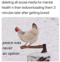 😂: deleting all social media for mental  health n then redownloading them 3  minutes later after getting bored  peace was  never  an option 😂