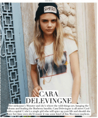 peachnaked:  c a r a : DELEVINGNE  000004Her nickname's Monster and she's where the wild things are, banging the  oadrums and leading the Burberry bandits. Cara Delevingne is all street Cool  h a capital C: she's a single girl who will spice up your life and should she  Shave her time over she'd ensure it was some kind of Jim Morrison mavhem peachnaked:  c a r a