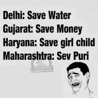 😂: Delhi: Save Water  Gujarat: Save Money  Haryana: Save girl child  Maharashtra: Sev Puri  KAD  SIBHUKKAD InSTA 😂