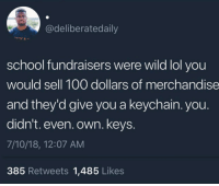 <p>Meanwhile you had to raise $400 for a fucking Gameboy Advanced SP (via /r/BlackPeopleTwitter)</p>: @deliberatedaily  school fundraisers were wild lol you  would sell 100 dollars of merchandise  and they'd give you a keychain. you.  didn't. even. own. keys  7/10/18, 12:07 AM  385 Retweets 1,485 Likes <p>Meanwhile you had to raise $400 for a fucking Gameboy Advanced SP (via /r/BlackPeopleTwitter)</p>