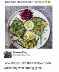 Memes, Breakfast, and 🤖: Delicious breakfast with herbs  MonsterKing  @CerromeRussell  Look like you left the window open  while they was cutting grass 🤣lol
