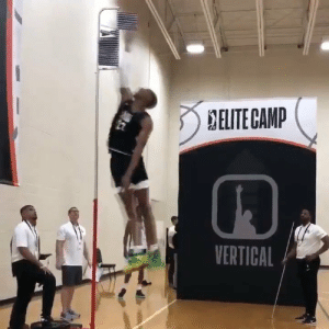 """Fall, Memes, and 🤖: DELITE CANP  VERTICAL Max Jump at #EliteCamp  7'6"""" Tacko Fall: 147.5 inches 6'9"""" Kenny Wooten: 150.5 inches  (Via @NBAGLeague) https://t.co/r6FgKIjAea"""