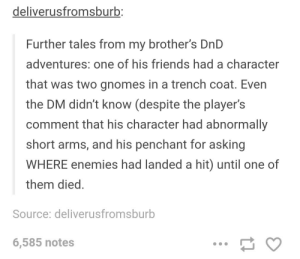 Friends, DnD, and Enemies: deliverusfromsburb  Further tales from my brother's DnD  adventures: one of his friends had a character  that was two gnomes in a trench coat. Even  the DM didn't know (despite the player's  comment that his character had abnormally  short arms, and his penchant for asking  WHERE enemies had landed a hit) until one of  them died  Source: deliverusfromsburb  6,585 notes Brothers DND adventure