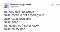 Brains, Food, and God: demented egg basket  @aplethoras  me: why do i feel terrible  brain: coffee is not a food group  brain: eat a vegetable  brain: sleep  me: guess we'll never know  brain: oh my god me