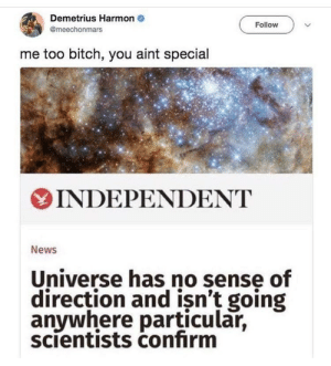 Bitch, News, and Just Cause: Demetrius Harmon  @meechonmars  Follow  me too bitch, you aint special  INDEPENDENT  News  Universe has no sense of  direction and isn't going  anywhere particular,  scientists confirm Just cause youre bigger than me..