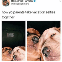 Parents, Yo, and Beach: Demetrius  Harmon  @meechonmars  how yo parents take vacation selfies  together Don't NOT invite me to Figi and then send me pics from the beach MOM like damn now I know where I get my pettiness from 😒 (@sassy.betches)