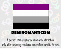 Posting about demiromanticism tomorrow! Send graphics, how you define demiromantic if you identify, stories, etc.! [image by Adcro on deviantArt: http:-www.deviantart.com-art-RAINBOW-FLAGS-Demiromantic-549611088] demi demiromantic demiromanticism aro aromantic arospectrum lgbt TGEidentities mogai queer pride: DEMIROMANTICISM  A person that experiences romantic attraction  only after a strong emotional connection bond is formed  http://adcro deviantart.com/ Posting about demiromanticism tomorrow! Send graphics, how you define demiromantic if you identify, stories, etc.! [image by Adcro on deviantArt: http:-www.deviantart.com-art-RAINBOW-FLAGS-Demiromantic-549611088] demi demiromantic demiromanticism aro aromantic arospectrum lgbt TGEidentities mogai queer pride