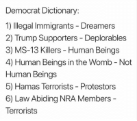 Seems odd...: Democrat Dictionary:  1) Illegal Immigrants - Dreamers  2) Trump Supporters - Deplorables  3) MS-13 Killers - Human Beings  4) Human Beings in the Womb - Not  Human Beings  5) Hamas Terrorists - Protestors  6) Law Abiding NRA Members  Terrorists Seems odd...