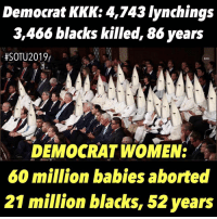 kkk: Democrat KKK: 4,743 lynchings  3,466 blacks killed, 86 years  DEMOCRAT WOMEN:  60 million babies aborted  21 million blacks, 52 years