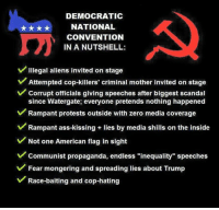 """Ass, Memes, and Zero: DEMOCRATIC  NATIONAL  CONVENTION  IN A NUTSHELL  v Illegal aliens invited on stage  V Attempted cop-killers' criminal mother invited on stage  v corrupt officials giving speeches after biggest scandal  since Watergate, everyone pretends nothing happened  v Rampant protests outside with zero media coverage  V Rampant ass-kissing lies by media shills on the inside  v Not one American flag in sight  v communist propaganda, endless """"inequality"""" speeches  V Fear mongering and spreading lies about Trump  V Race-baiting and cop-hating I'm not sure what part makes me the maddest? ~ GATSBY"""