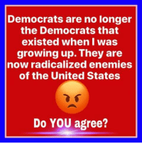 I grew up a blue collar democrat, so I ABSOLUTELY AGREE - Do you agree?: Democrats are no longer  the Democrats that  existed when I was  growing up. They are  now radicalized enemies  of the United States  Do YOU agree? I grew up a blue collar democrat, so I ABSOLUTELY AGREE - Do you agree?