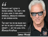 Memes, True, and Aliens: DEMOCRATS DON'T BOTHER TO  PRETEND ANYMORE. IHEY WANT A MOB  OF ILLEGAL ALIENS TO POUR ACROSS  BORDERLESS, UNREGULATED BOUNDARIES  OF OUR SOVEREIGN NATION.  THEY WANT THIS FOR ONE REASON ONLY:  NOT FOR THE SAKE OF COMPASSION, NOR  HUMANITY- JUST FOR ILLEGAL VOTES.  #DEMOCRATVOTERFRAUD  Elyover  Culture  James Woods Sadly, true.