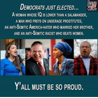 """America, Beats, and The Real: DEMOCRATS JUST ELECTED  A woNAN WHOSE 1Q IS LOWER THAN A SALAMANDER  A MAN WHO PREYS ON UNDERAGE PROSTITUTES,  AN ANTI-SEMITIC AMERICA-HATER WHO MARRIED HER BROTHER,  AND AN ANTI-SEMITIC RACIST WHO BEATS WOMEN.  re  Y'ALL MUST BE S0 PROUD, Fwd> Everyone knows democrats are the """"real"""" racists. 1Like # 1share"""