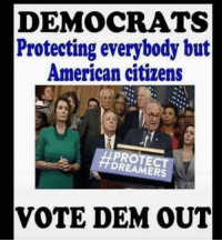 Memes, American, and 🤖: DEMOCRATS  Protecting everybody but  American citizens  HPROTE  DREAMERS  VOTE DEM OUT