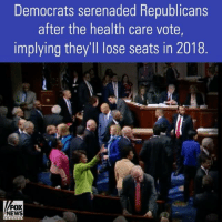 """Memes, News, and Singing: Democrats serenaded Republicans  after the health care vote,  implying they'll lose seats in 2018  FOX  NEWS Immediately after the House health care bill passed, Democrats began singing a familiar classic. The Dems were implying the Republicans who voted for the bill will lose their seats in the 2018 midterm elections. House Minority Leader NancyPelosi later said the serenade was """"spontaneous."""""""