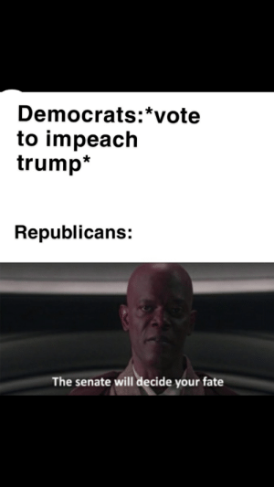 Oh I don't think so: Democrats:*vote  to impeach  trump*  Republicans:  The senate will decide your fate Oh I don't think so