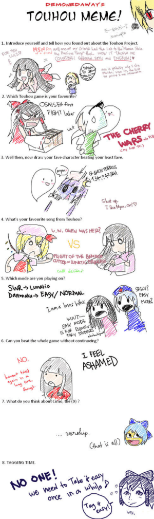 DEMONEDAWAY'S TOUHOU MEME! そ一のポー 1 Introduce Yourself and Tell