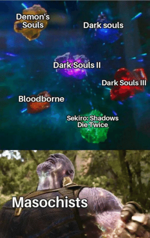 Bloodborne, Dark Souls, and Demons Souls: Demon's  Souls  Dark souls  Dark Souls II  Dark Souls III  Bloodborne  Sekiro: Shadows  Die Twice  Masochists