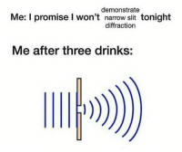 Memes, 🤖, and Three: demonstrate  Me: I promise I won't narrow slit tonight  diffraction  Me after three drinks: Not again