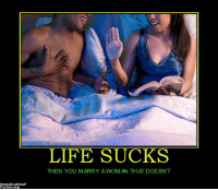 o god what a nightmare ~zach: Demotivational  Posters org  LIFE SUCKS  THEN YOU MARRY A WOMAN THAT DOESN'T o god what a nightmare ~zach