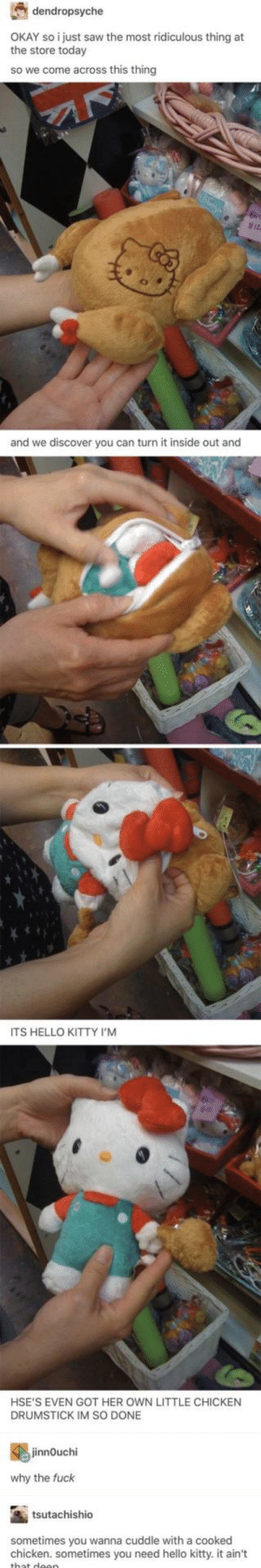 Hello, Kitty!: dendropsyche  OKAY so i just saw the most ridiculous thing at  the store today  so we come across this thingg  and we discover you can turn it inside out and  ITS HELLO KITTY I'M  HSE'S EVEN GOT HER OWN LITTLE CHICKEN  DRUMSTICK IM SO DONE  jinnOuchi  why the fuck  tsutachishio  sometimes you wanna cuddle with a cooked  chicken. sometimes you need hello kitty. it ain't  wllo kittyit an Hello, Kitty!