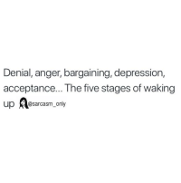 Funny, Memes, and Depression: Denial, anger, bargaining, depression,  acceptance... The five stages of waking  up@sarcasm_only SarcasmOnly